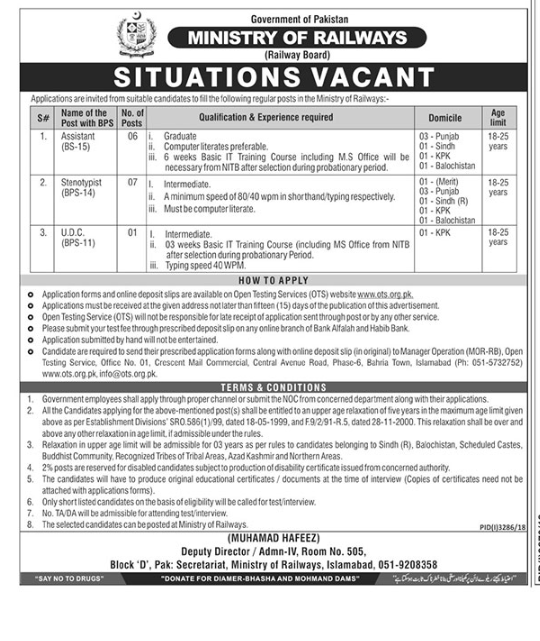 Ministry of Pakistan Railways Jobs OTS
