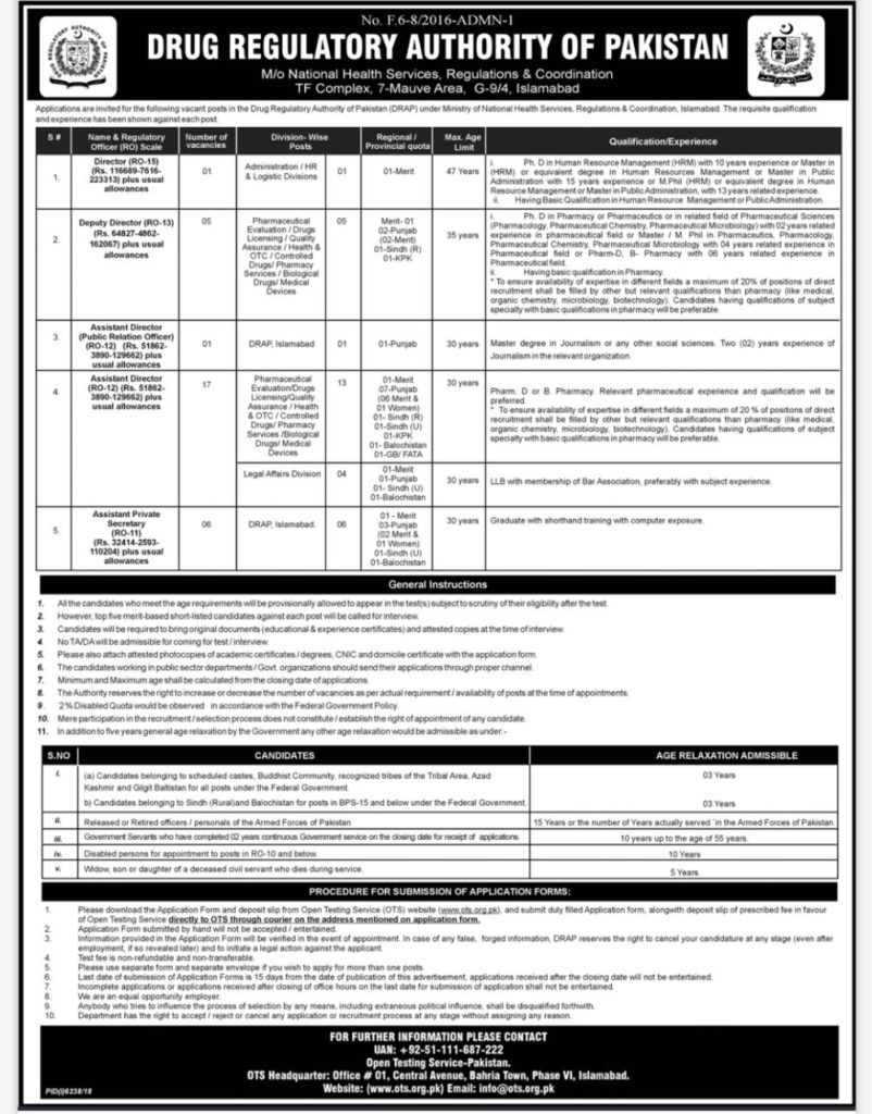 Drug Regulatory Authority Of Pakistan DRAP Jobs Via OTS