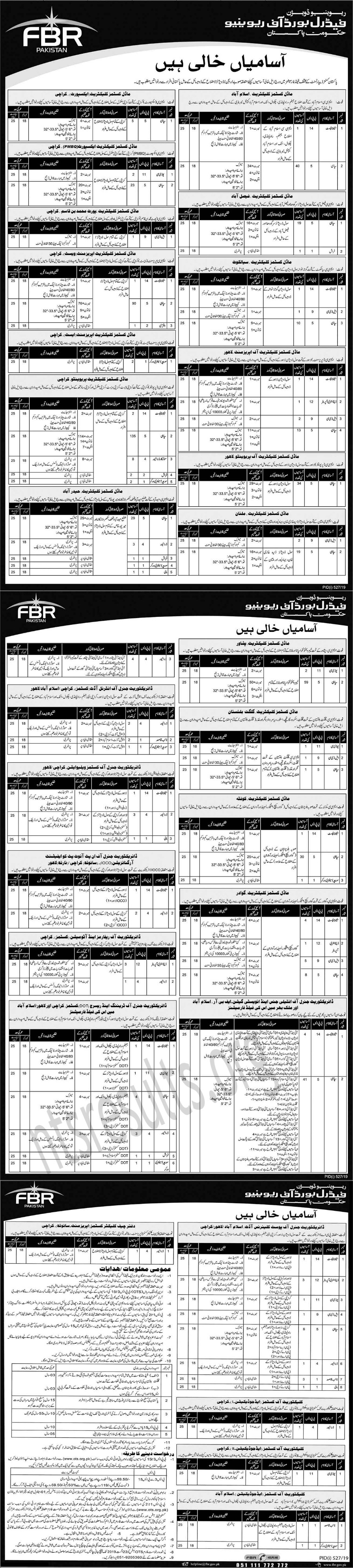 FBR Federal Board of Revenue Jobs OTS Test Roll No Slip