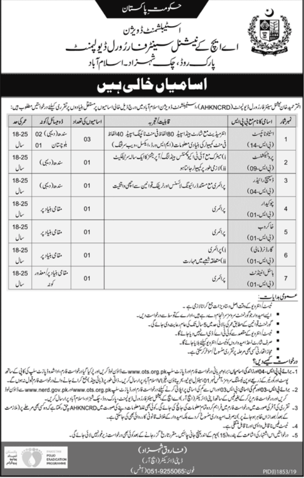 AHKNCRD National Centre for Rural Development Islamabad Jobs OTS Test Roll Number Slip