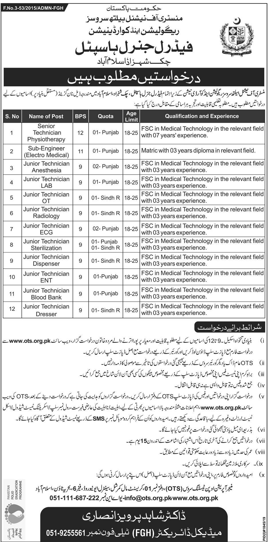 Federal General Hospital Chak Shahzad Islamabad Jobs OTS Test Result