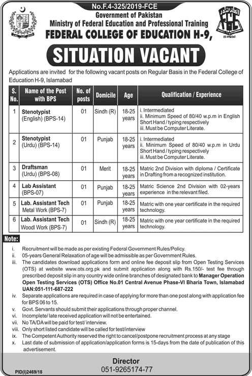 Federal College of Education Jobs Via OTS