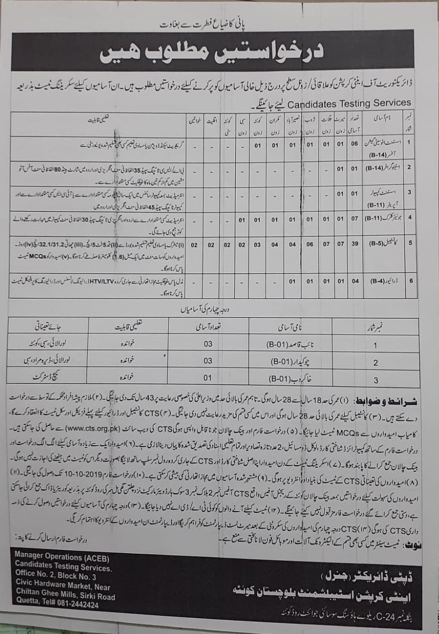 Anti Corruption Establishment Quetta Jobs CTS Test Roll Number Slip