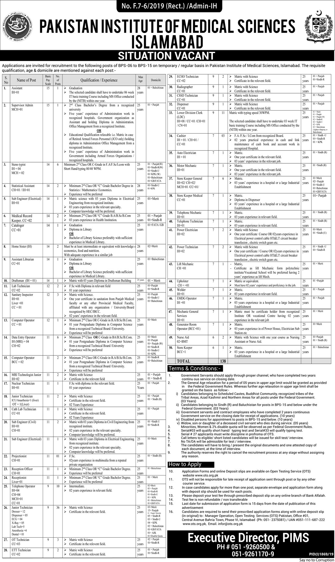 Pakistan Institute of Medical Sciences Jobs PIMS Jobs OTS Test Result