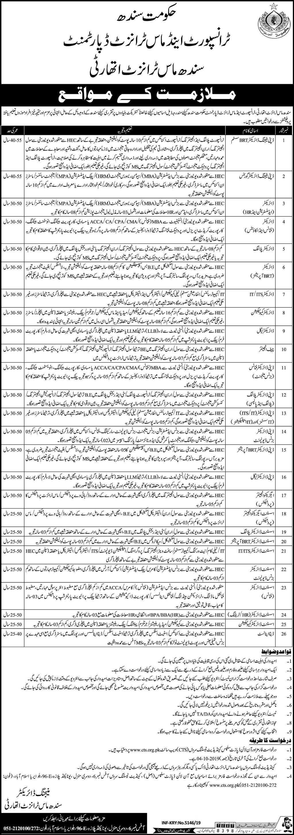 Sindh Mass Transit Authority Jobs CTS Test Online Roll No Slip