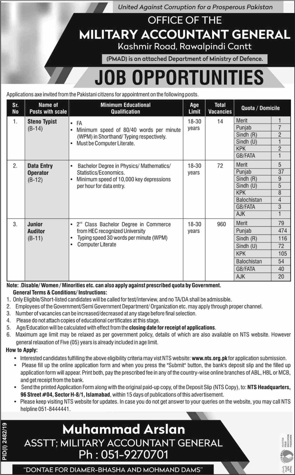Office of Military Accountant General PMAD Jobs NTS Test Result Answer Keys
