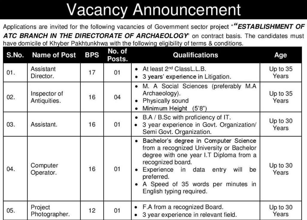 Directorate of Archaeology Jobs NTS Sample Papers