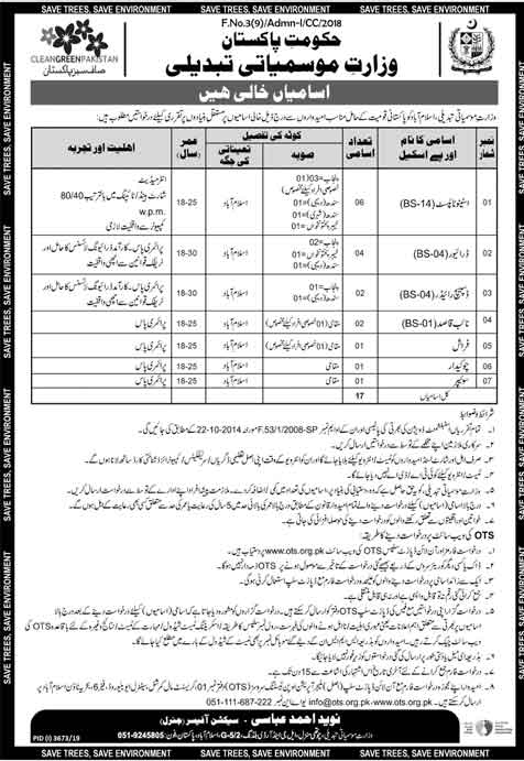 Ministry Of Climate Change Jobs OTS Result