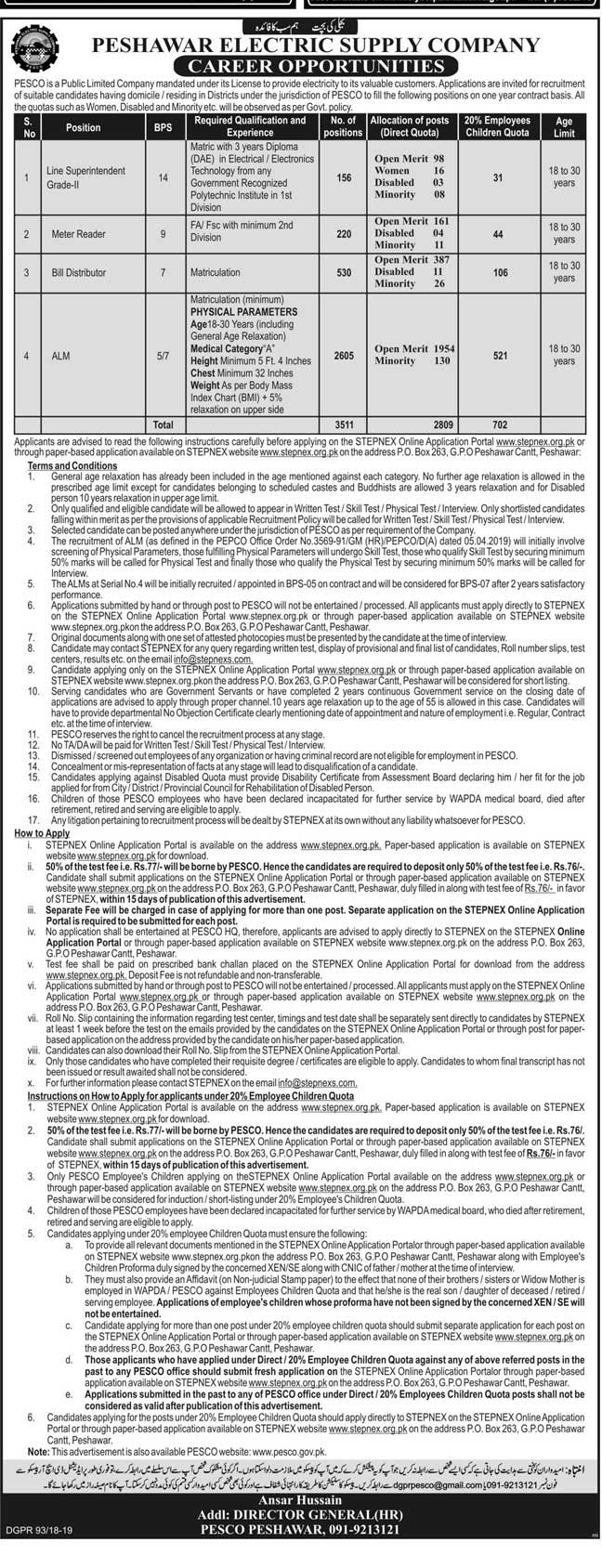 PESCO Jobs Bill Distributor ALM Jobs CTS Roll No Slip