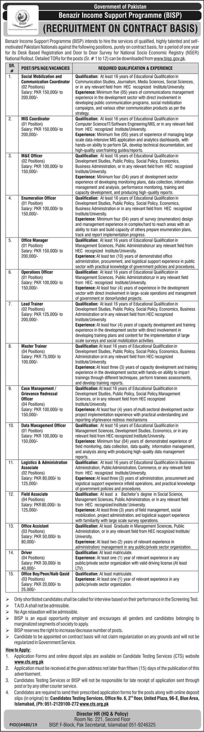 BISP Benazir Income Support Programme Jobs CTS Test Results
