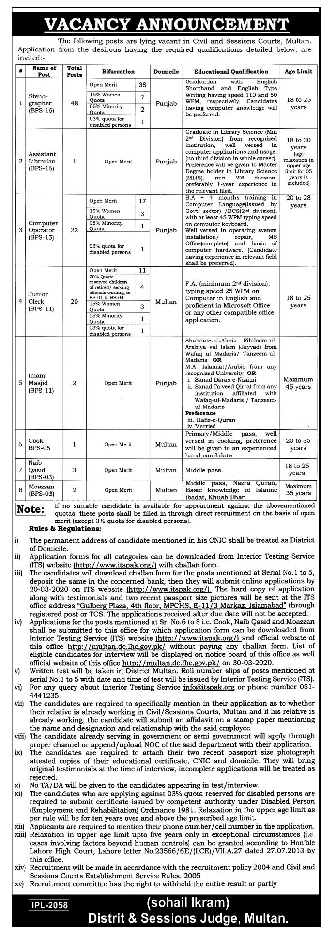 District Session Courts Multan Jobs ITSPAK Roll Number Slips