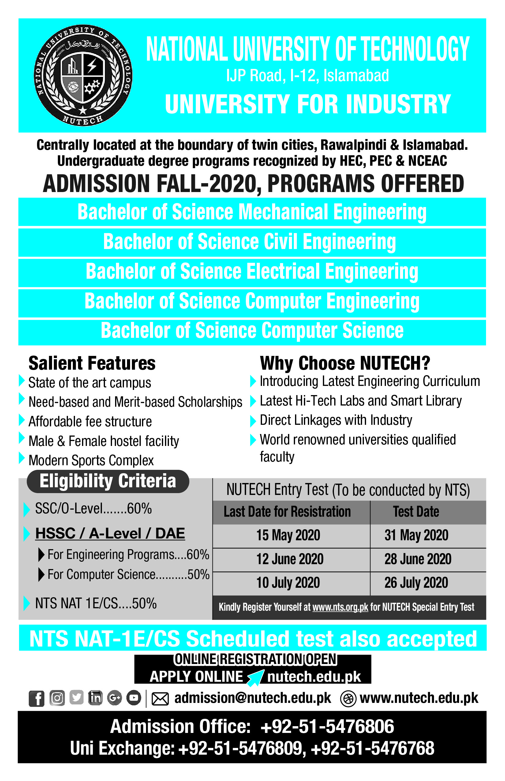 NUTECH National University of Technology Admissions 2020 NTS Roll No Slip