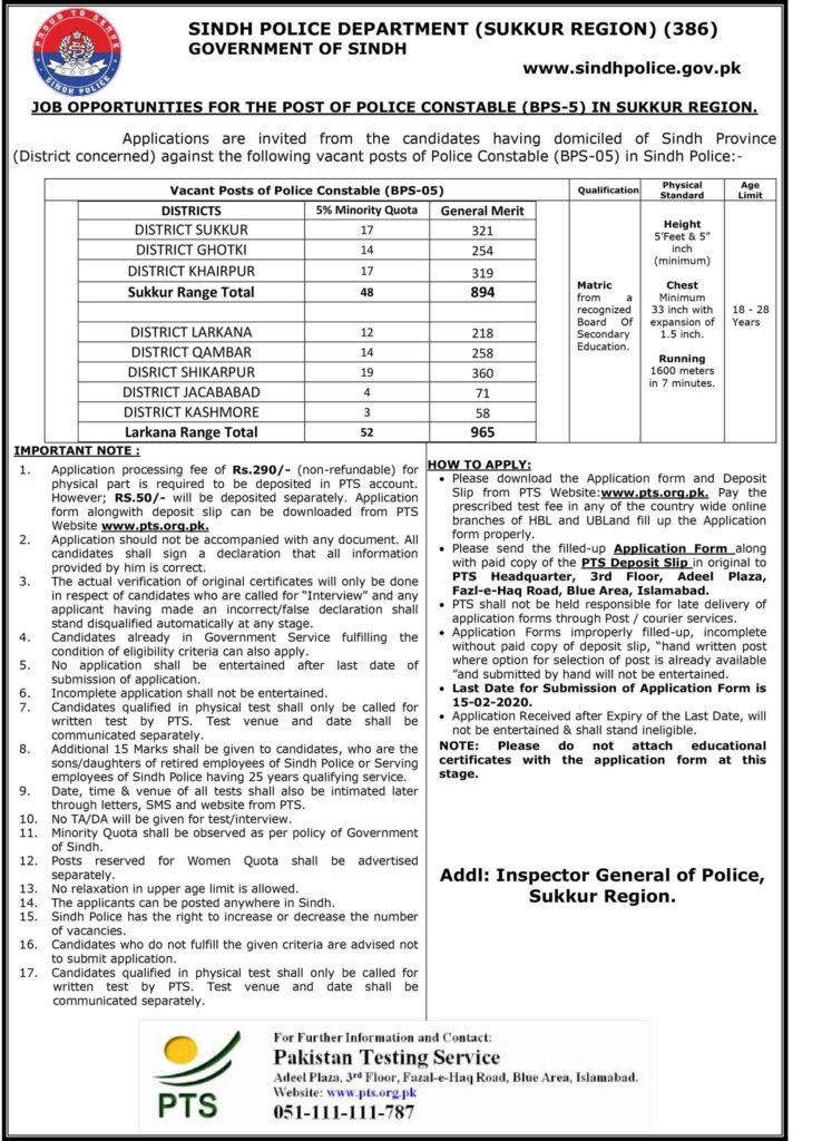 Sindh Police Jobs Sukkur Region PTS Roll No Slip