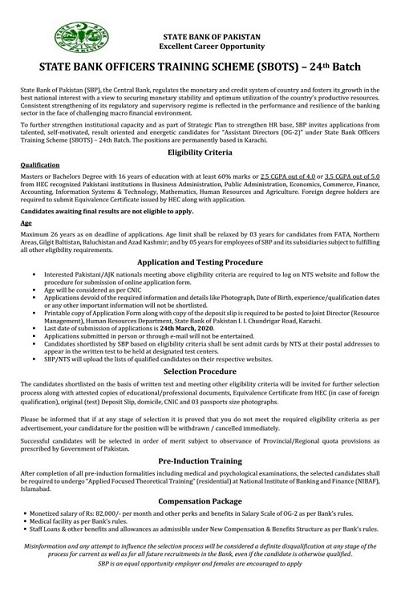 State Bank SBOTS 24th Batch Officers Training Scheme NTS Roll No Slip