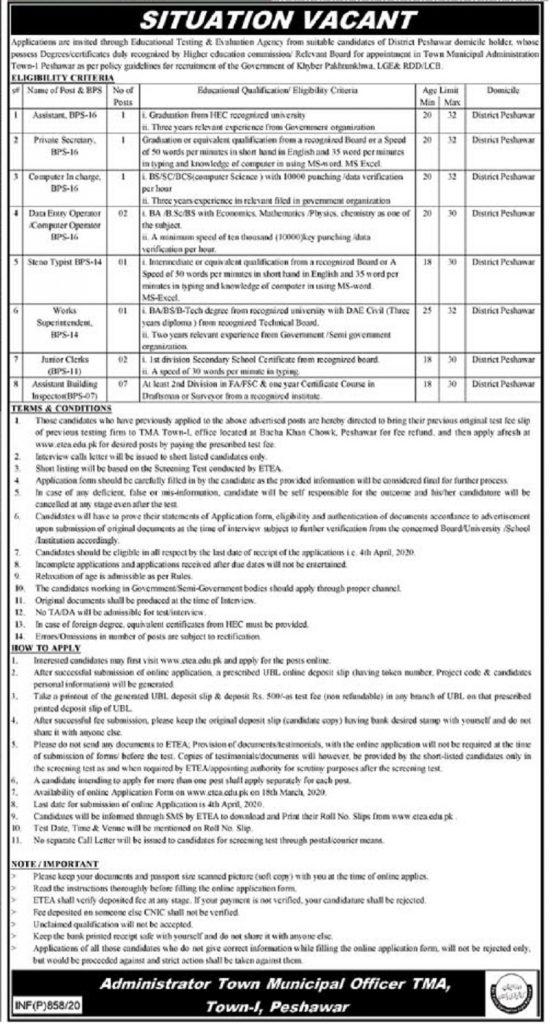 TMA Peshawar Town Municipal Administration Jobs ETEA Roll No Slip