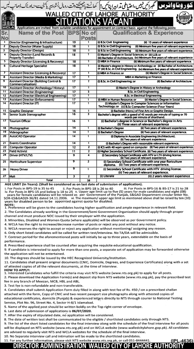 Walled City of Lahore Authority Jobs NTS Roll Number Slip