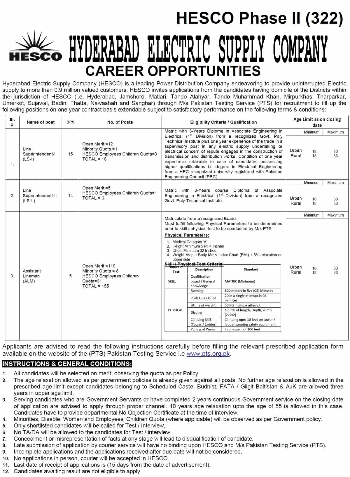 Hyderabad Electric Supply Company HESCO Jobs PTS Roll Number Slip