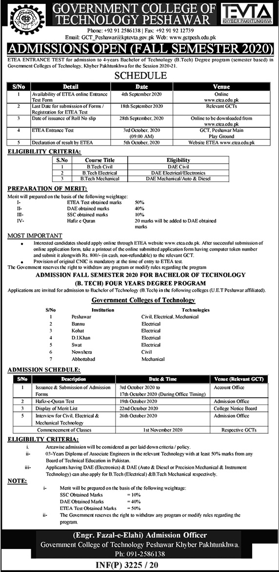 Peshawar Government Colleges of Technology Admissions ETEA Roll No Slip
