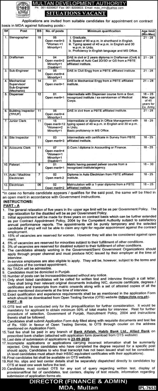 MDA Multan Development Authority Jobs OTS Roll No Slip