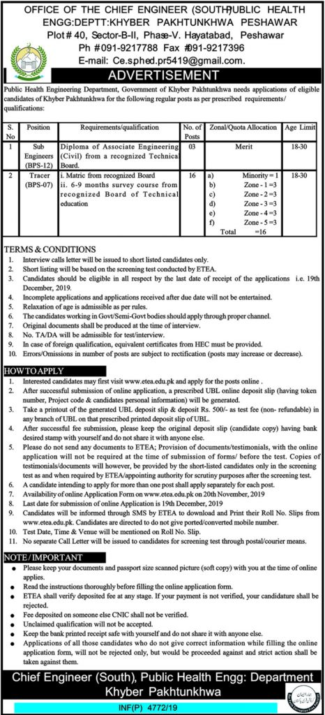 Public Health Engineering Department PHED Jobs ETEA Test Results