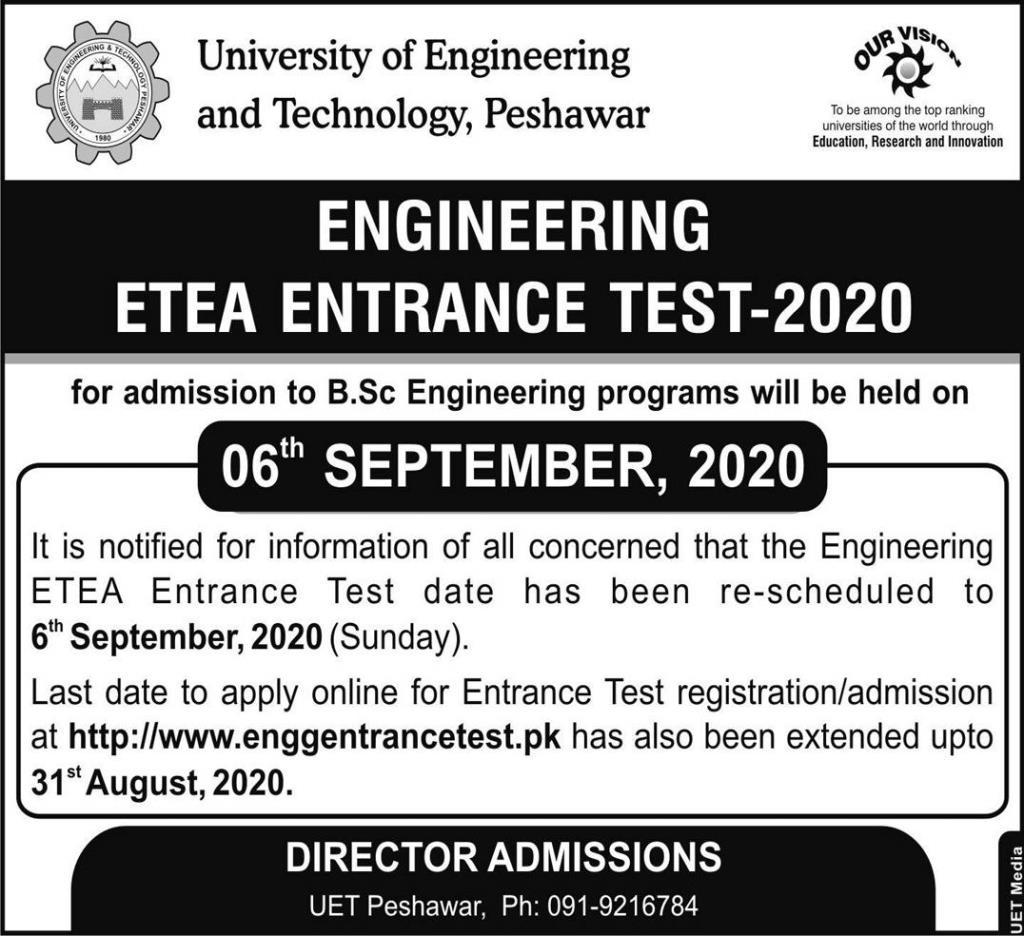 UET Peshawar Admissions BSc Engineering ETEA Roll No Slip