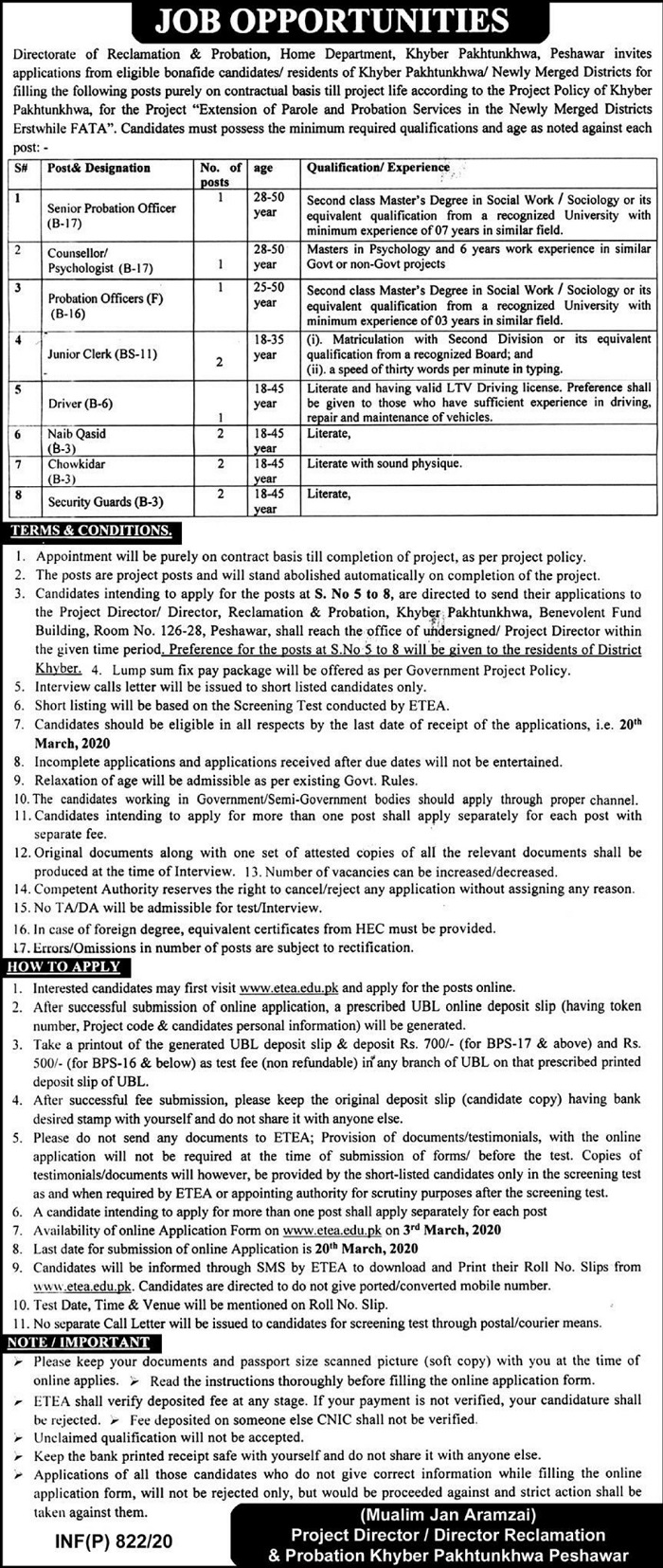Directorate of Reclamation Probation Home Department Jobs ETEA Result