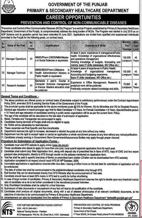 Primary Secondary Health Care Department Jobs NTS Roll No Slips