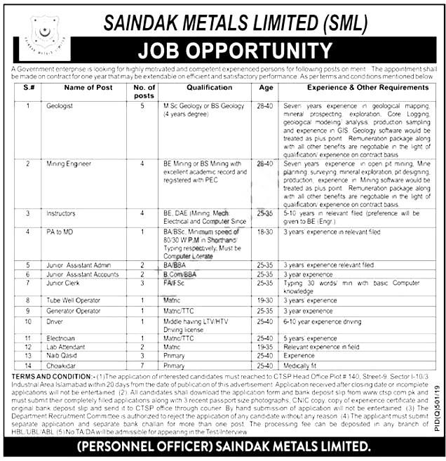 SML Saindak Metals Limited Jobs CTSP Answer Keys Result