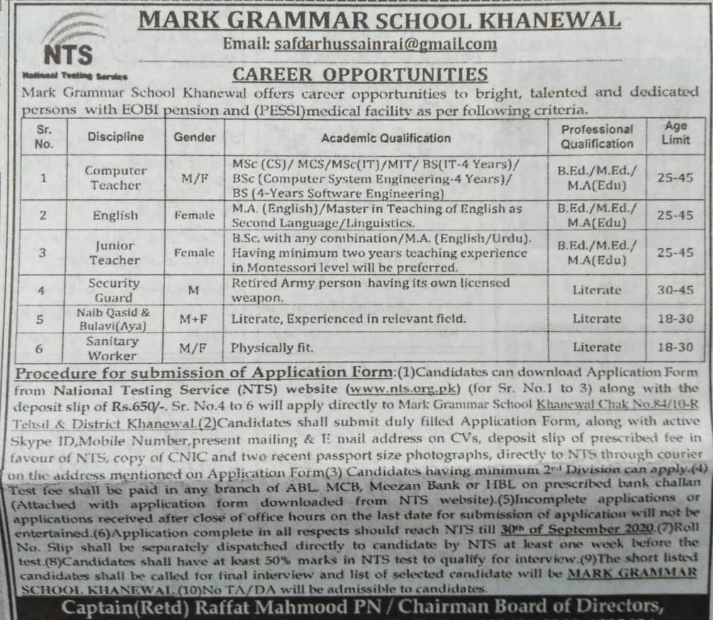 Khanewal Mark Grammar School Jobs NTS Test Results