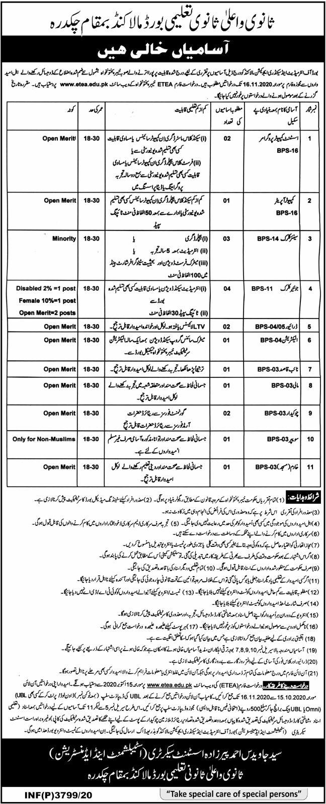 Board of Intermediate & Secondary Education BISE Malakand Jobs ETEA Test Roll No Slip