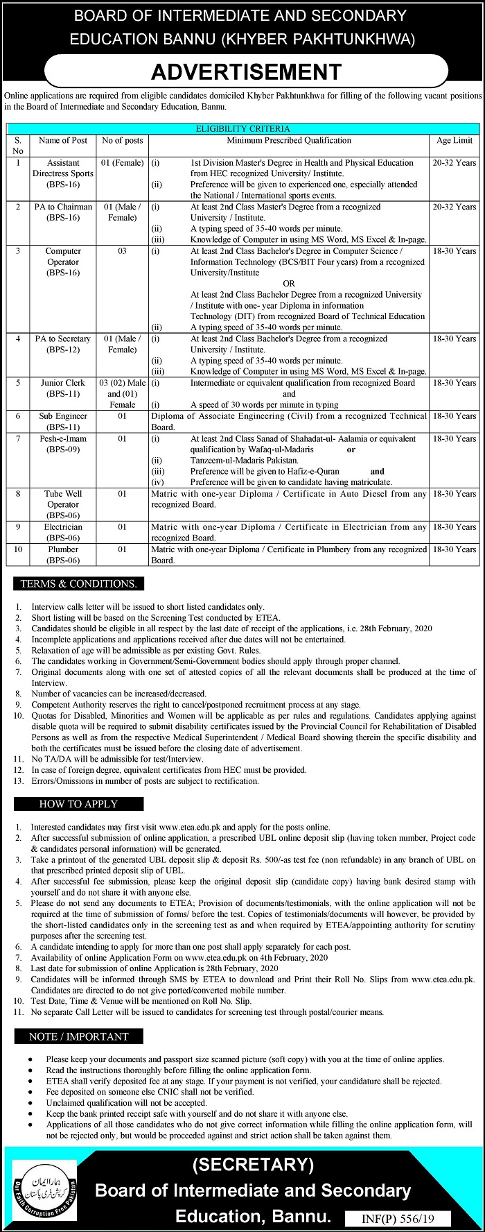 BISE Bannu Jobs Intermediate and Secondary Education Board ETEA Result