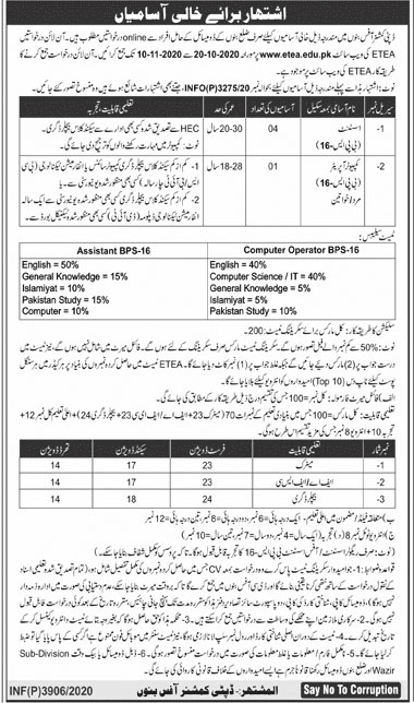 Deputy Commissioner Office Bannu Jobs ETEA Test Roll No Slip