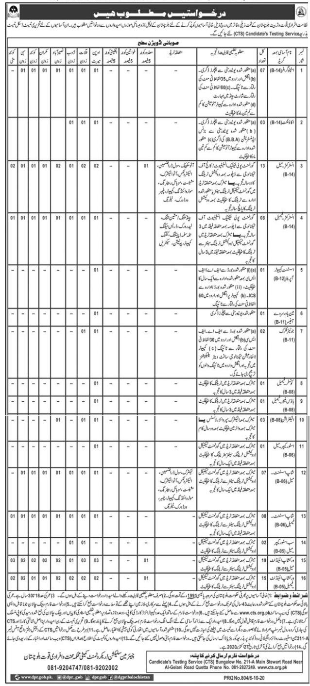 Balochistan Directorate of Manpower Training Jobs CTS Test Result