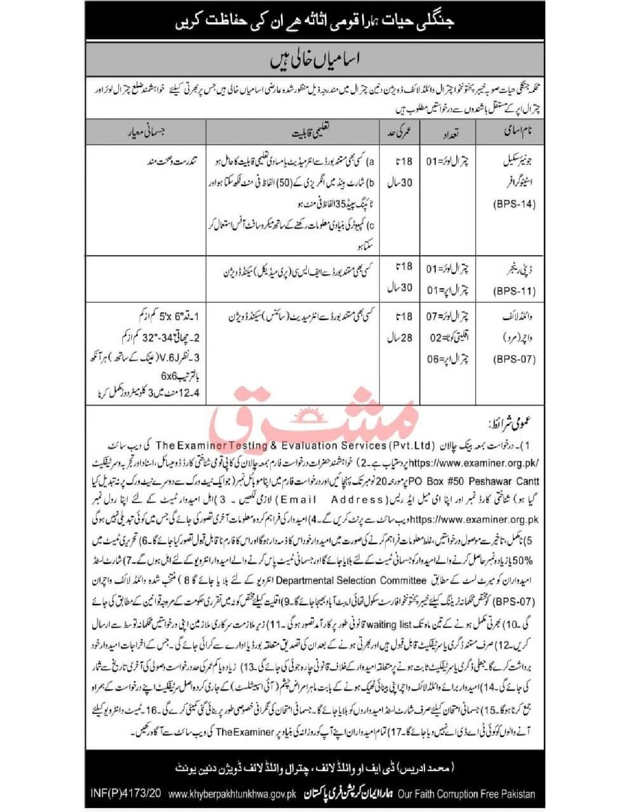 Divisional Forest Officer Chitral Wildlife Division Jobs ETES Roll No Slips