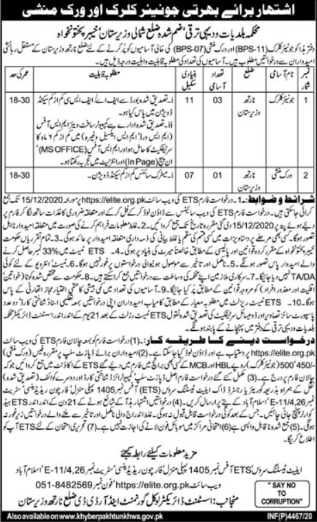 Rural Development Department North Waziristan Jobs ETS Roll No Slips