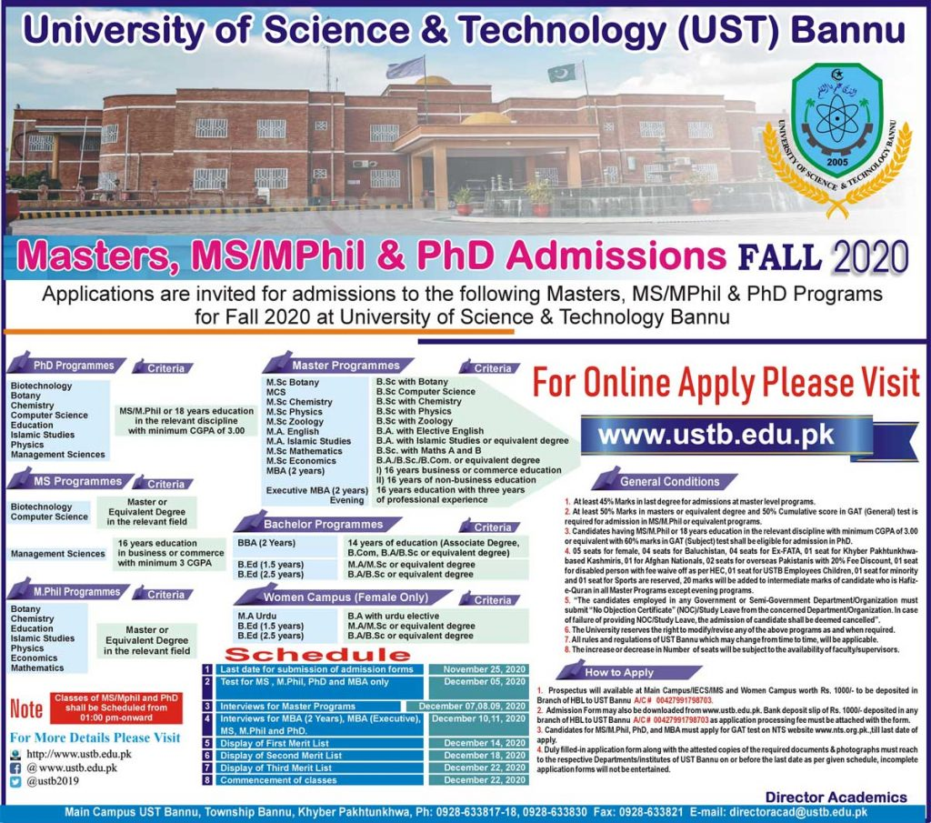 USTB University of Science Technology Bannu Admissions NTS Results