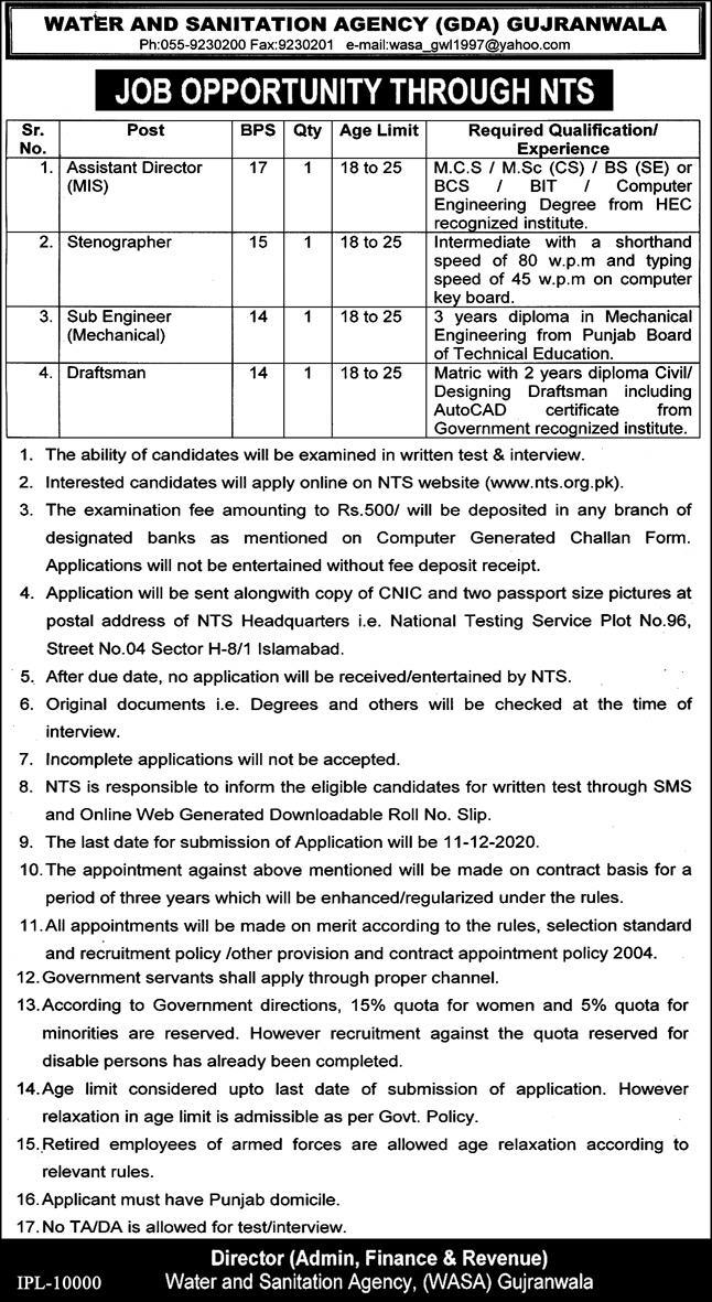 Water and Sanitation Agency GDA Gujranwala Jobs NTS Roll No Slips