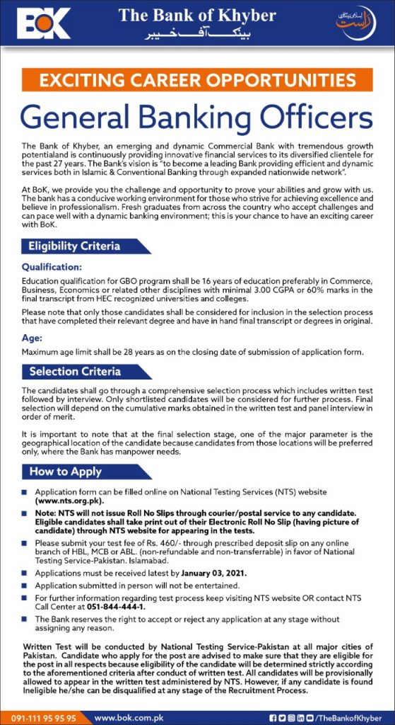 Bank of Khyber General Banking Officer Jobs NTS Test Roll No Slips