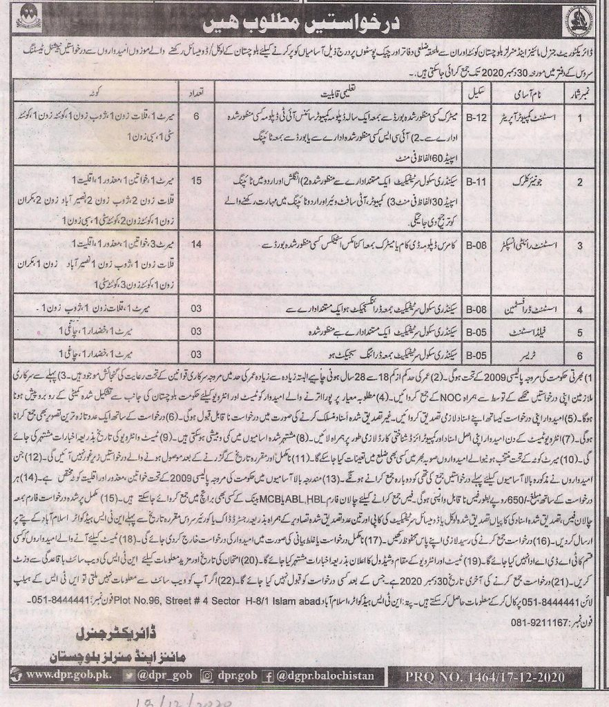 Directorate General Mines Minerals Baluchistan Jobs NTS Roll No Slips