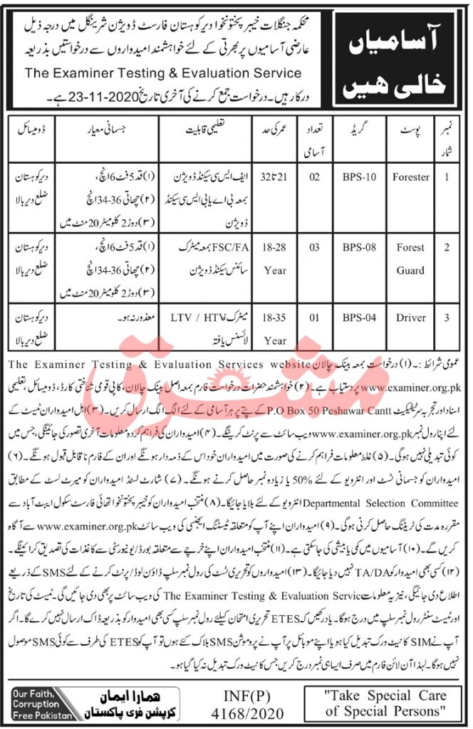 Divisional Forest Officer Office Kohistan Sheringal Jobs ETES Roll No Slips