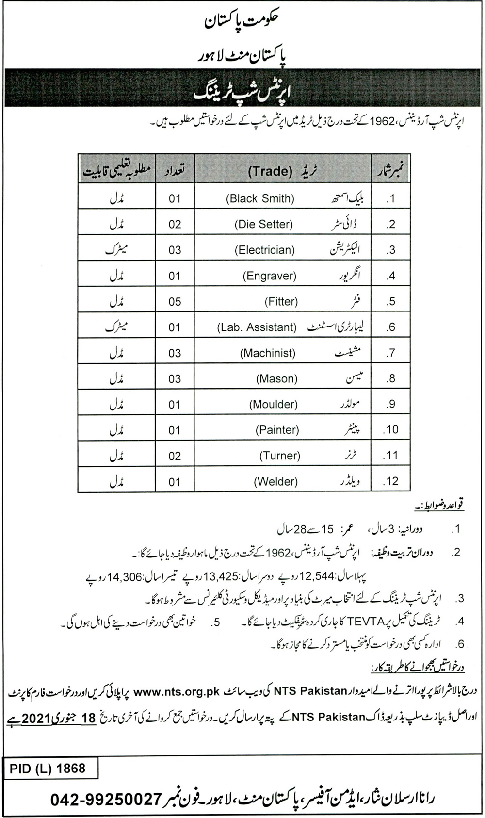 Apprenticeship Training Pakistan Mint Lahore NTS Merit List Roll No Slip