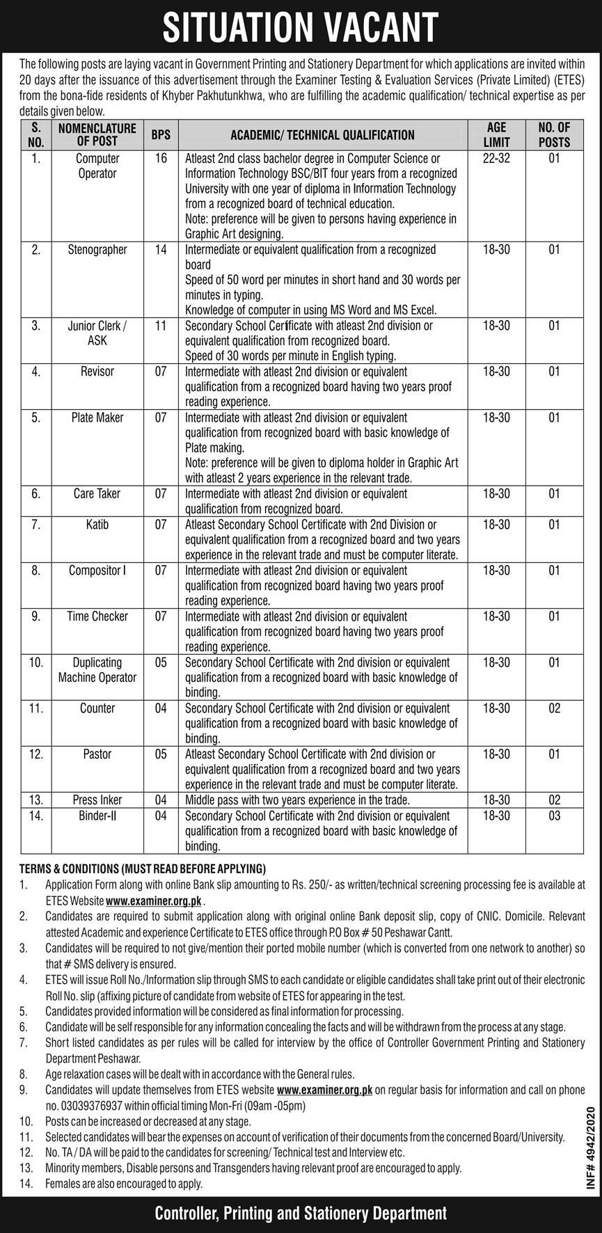 Govt Printing Press Stationery Department Jobs ETES Test Roll No Slip