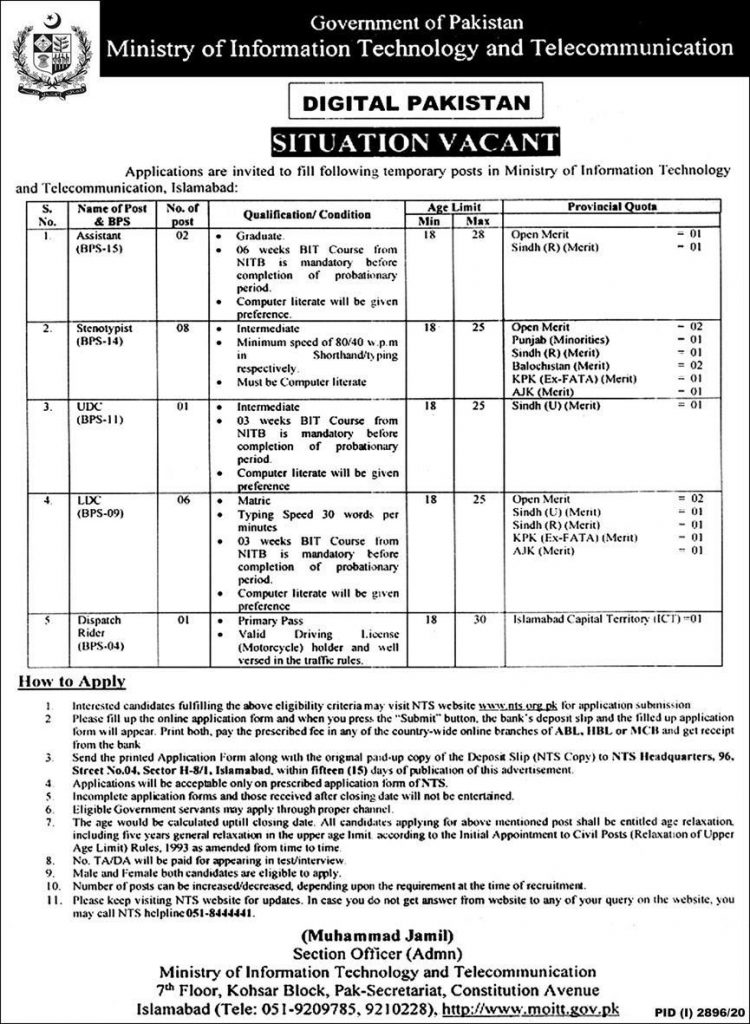Information Technology Telecommunication Ministry Jobs NTS Result