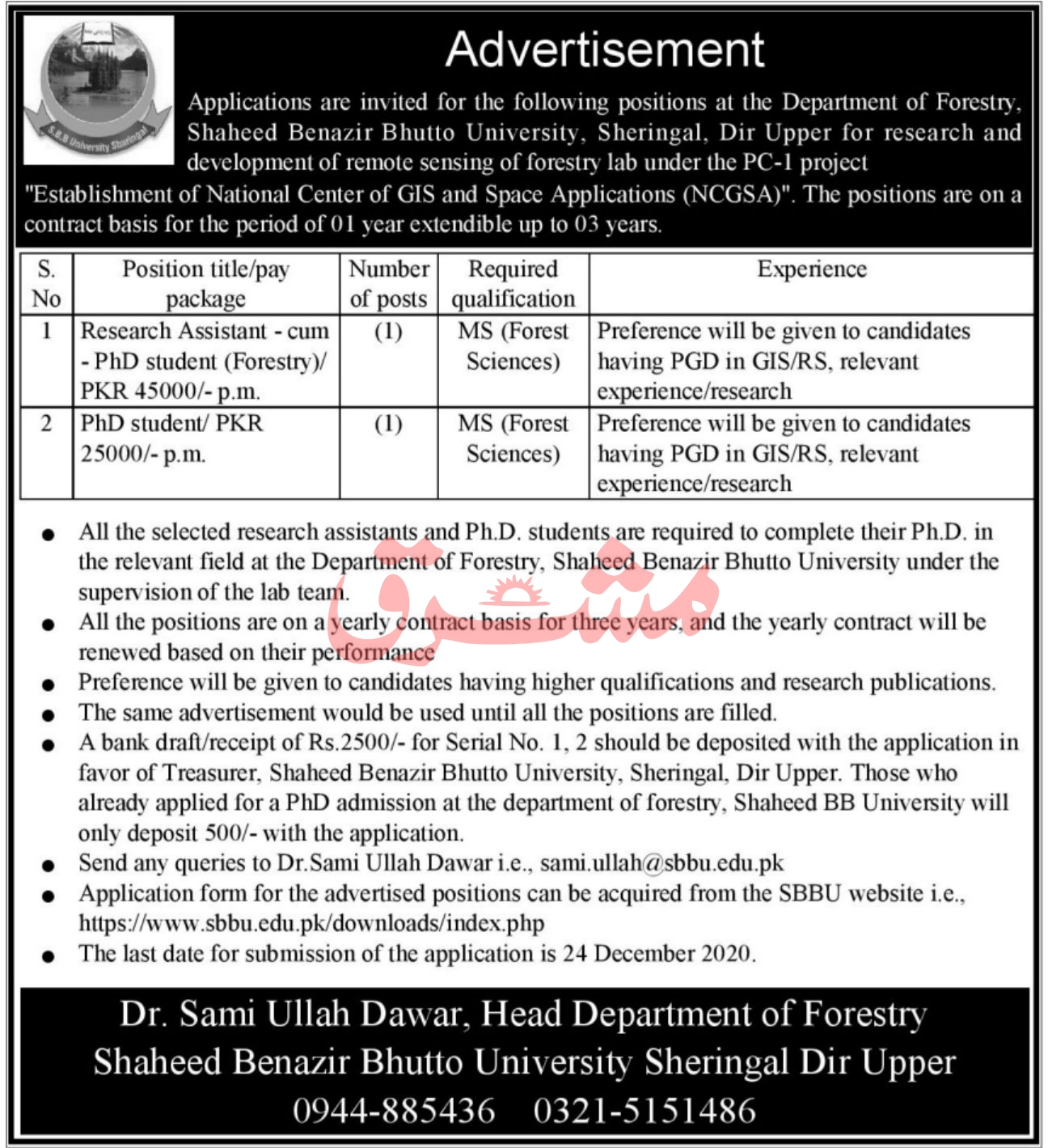 Shaheed Benazir Bhutto University Sheringal Dir Upper Jobs ATS Results