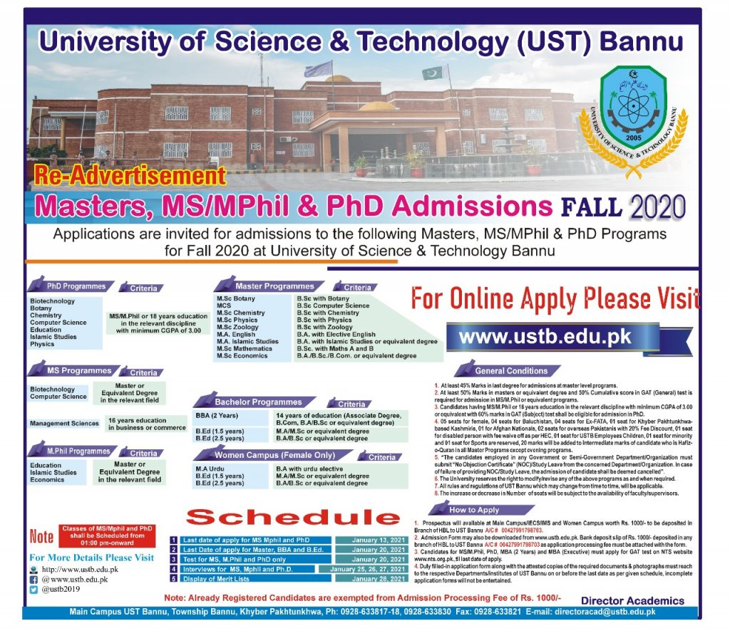 University of Science and Technology Bannu MS MPhil PhD NTS Roll No Slips