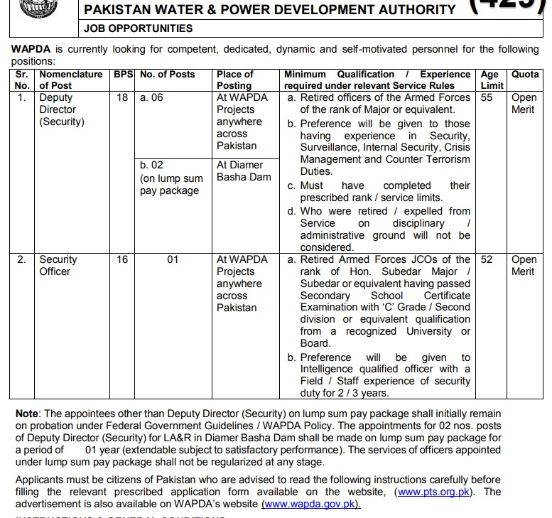 WAPDA Security Directorate Phase VIII PTS Roll No Slips