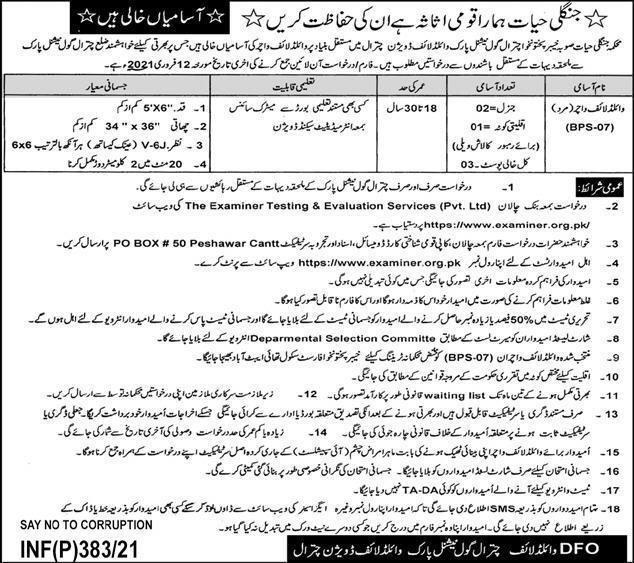 DFO Wildlife Division Chitral Jobs ETES Test Roll No Slips