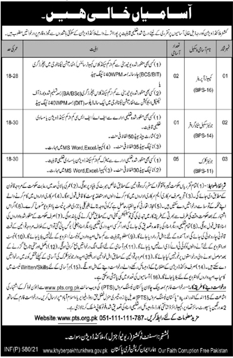 Commissioner Malakand Division Swat Jobs PTS Roll No Slip