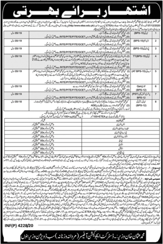 KPK Education Department ESED SST SST IT Jobs ETEA Result