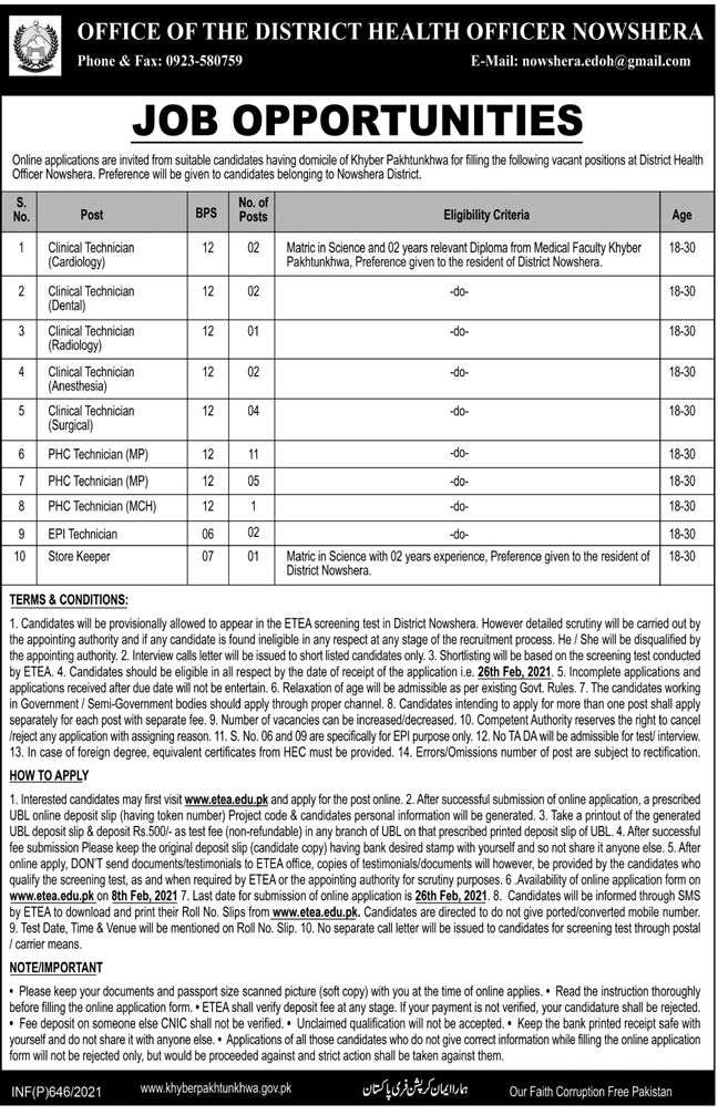 DHO Nowshera District Health Office Jobs ETEA Test Roll No Slip